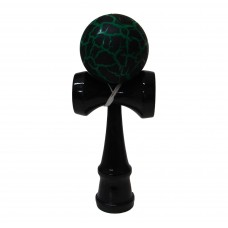 Green/Black Crackle Kendama with Black Handle